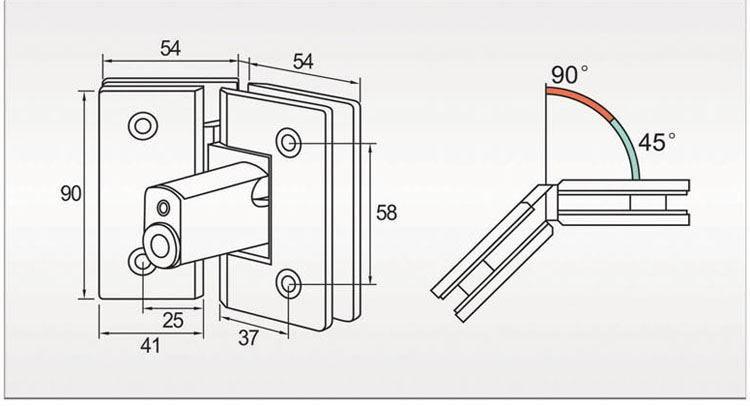 180degrees French Door Hinges Adjust Shower Door Pivot