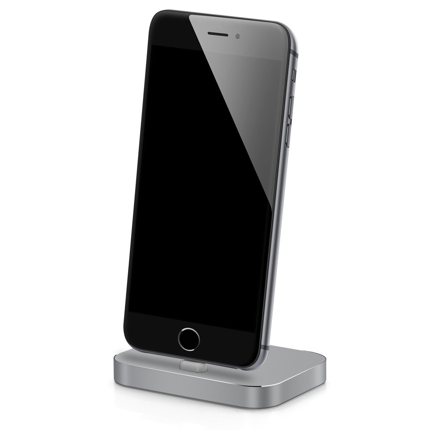Apple iPhone Lightning Charging Stand Dock Station for iPhone 7/7 Plus/SE/5/c/s/6/6s, 6/6s Plus/iPod Nano 7th Gen/iPod Touch 5,6th Gen, Aluminum Charger Cradle for Charge and Sync Data (Space Gray)