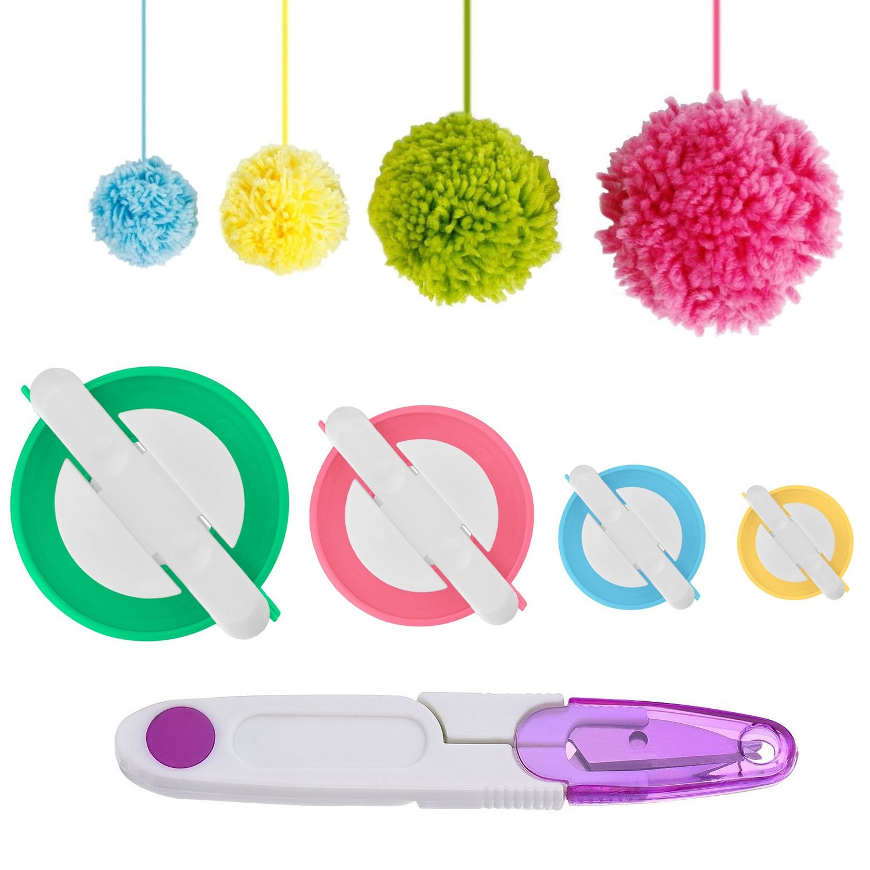 Kabi Pompom Maker, 4 Sizes Pom-pom Maker Fluff Ball Weaver Needle Craft DIY Wool Knitting Craft Tool with Thread Cutter Scissors