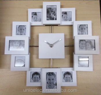 Plastic customized color photo frame wall clock
