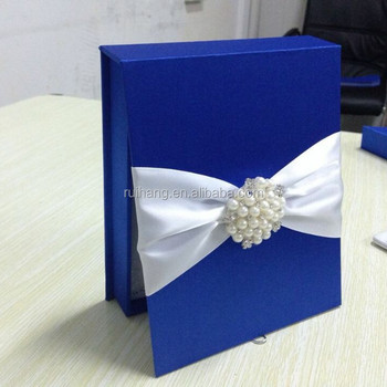 Navy Blue Luxury Wedding Cards Box Invitation With Crystal