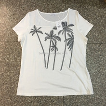 Women stocklots latest branded white coconut palm print T-shirt