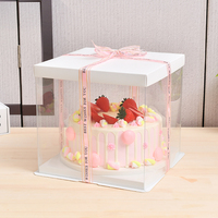 Luxury food grade plastic PET transparent wedding cake boxes gift recyclable