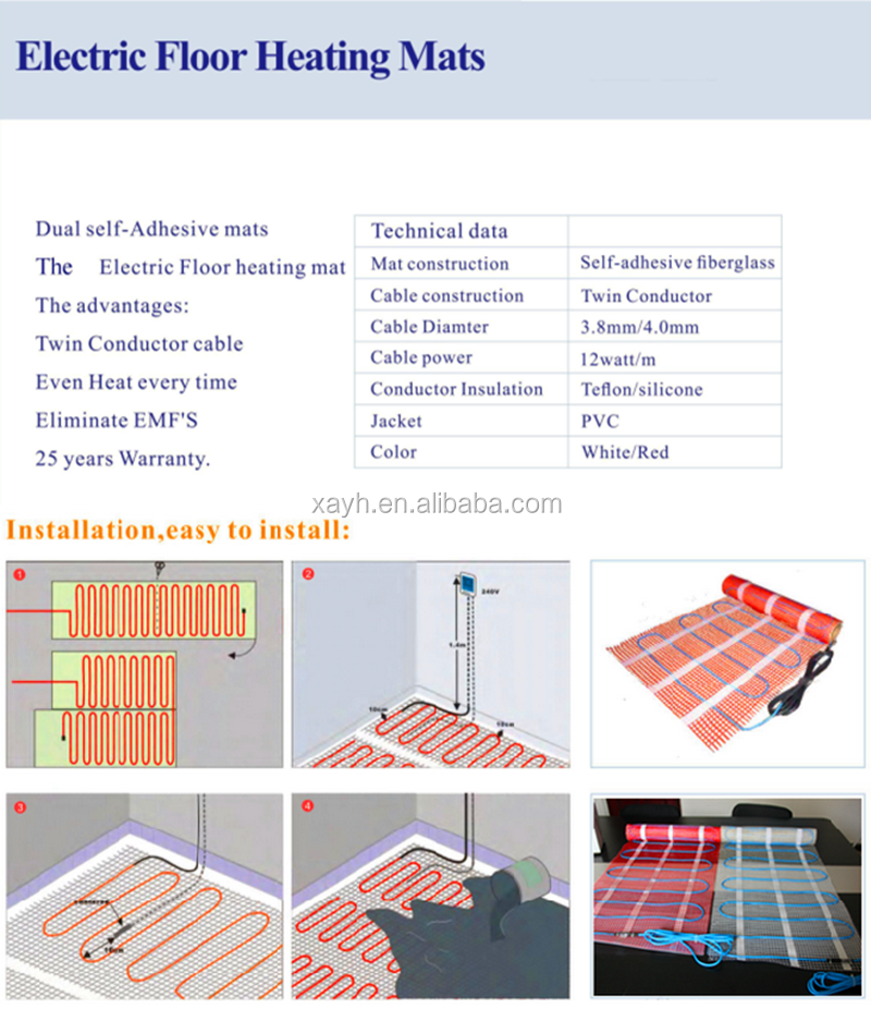 Under Floor Heating Cable Kit For Tile Underfloor Heating /& Warmup 100w 150w 200