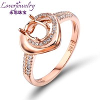 Heart Shape Solid 18Kt Rose Gold Diamond Semi Mount Setting Ring
