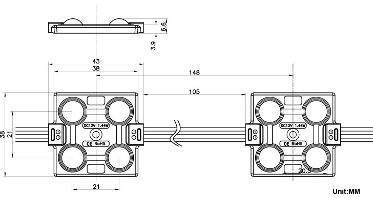 ce rohs 12v 4 5050 smd rgb led lens module