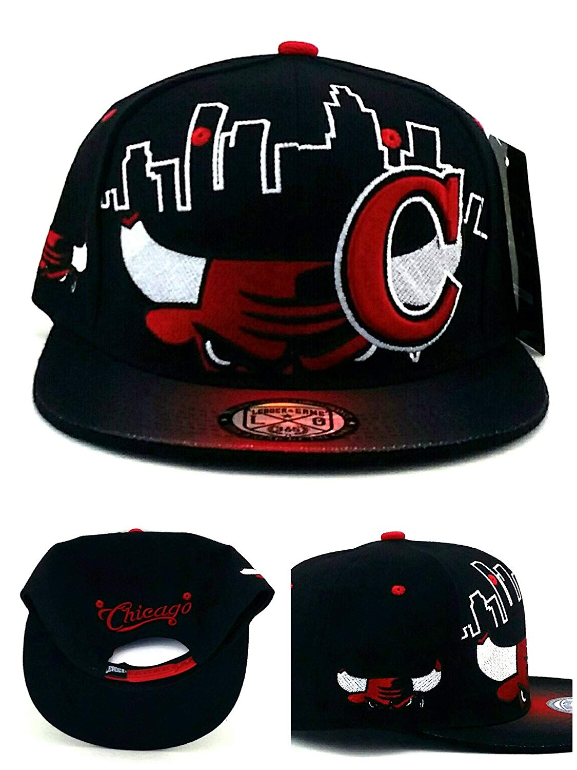 3a80131dc09 Get Quotations · Chicago New Leader Bull Head Skyline Bulls Colors Black Red  Era Snapback Hat Cap