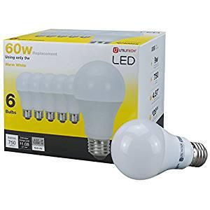 Utilitech 6-Pack 9-Watt (60W Equivalent) 3000K A19 Medium Base (E-26) Warm White Indoor LED Bulbs