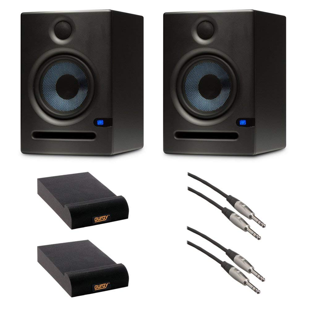 """PreSonus Eris E5 Two-Way Active 5.25"""" Studio Monitor (Pair) with Auray IP-S Isolation Pad (Small) and Balanced 1/4"""" TRS Male to Male Audio Cable"""