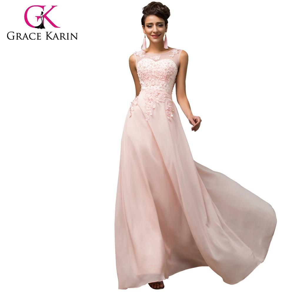 Grace Karin Sleeveless V-back Light Pink Chiffon Evening Gowns ...