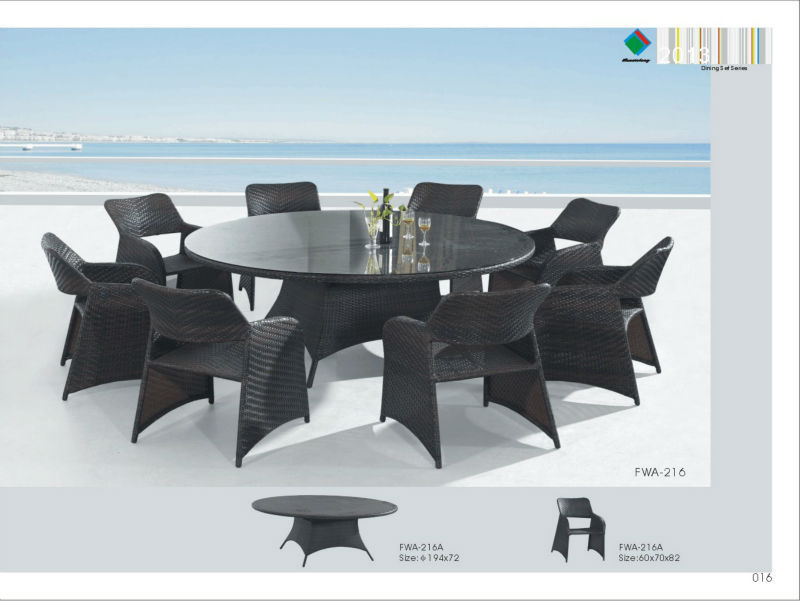 rotin grande table ronde de luxe salle manger ensemble. Black Bedroom Furniture Sets. Home Design Ideas