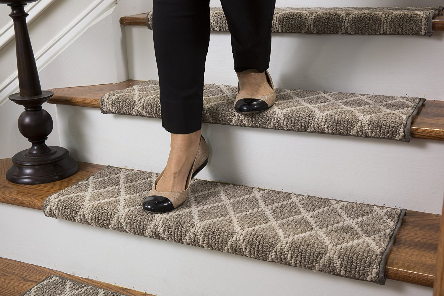 Get Quotations Jardin Wool Inspired Bullnose Carpet Stair Tread With Adhesive Padding Color Fontainebleau By