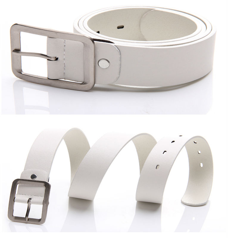 White leather belts men jeans