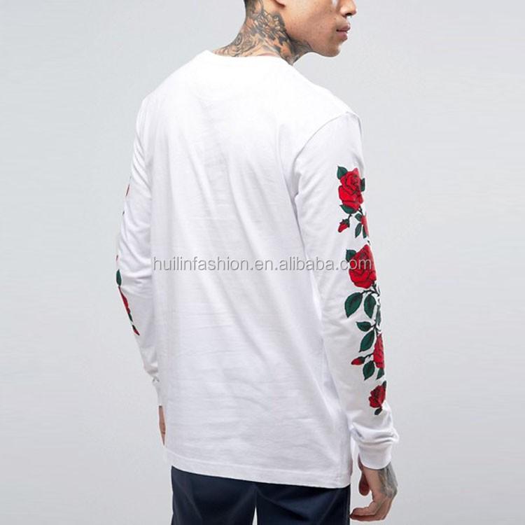 custom t shirt printing for men plain white long sleeve rose ...