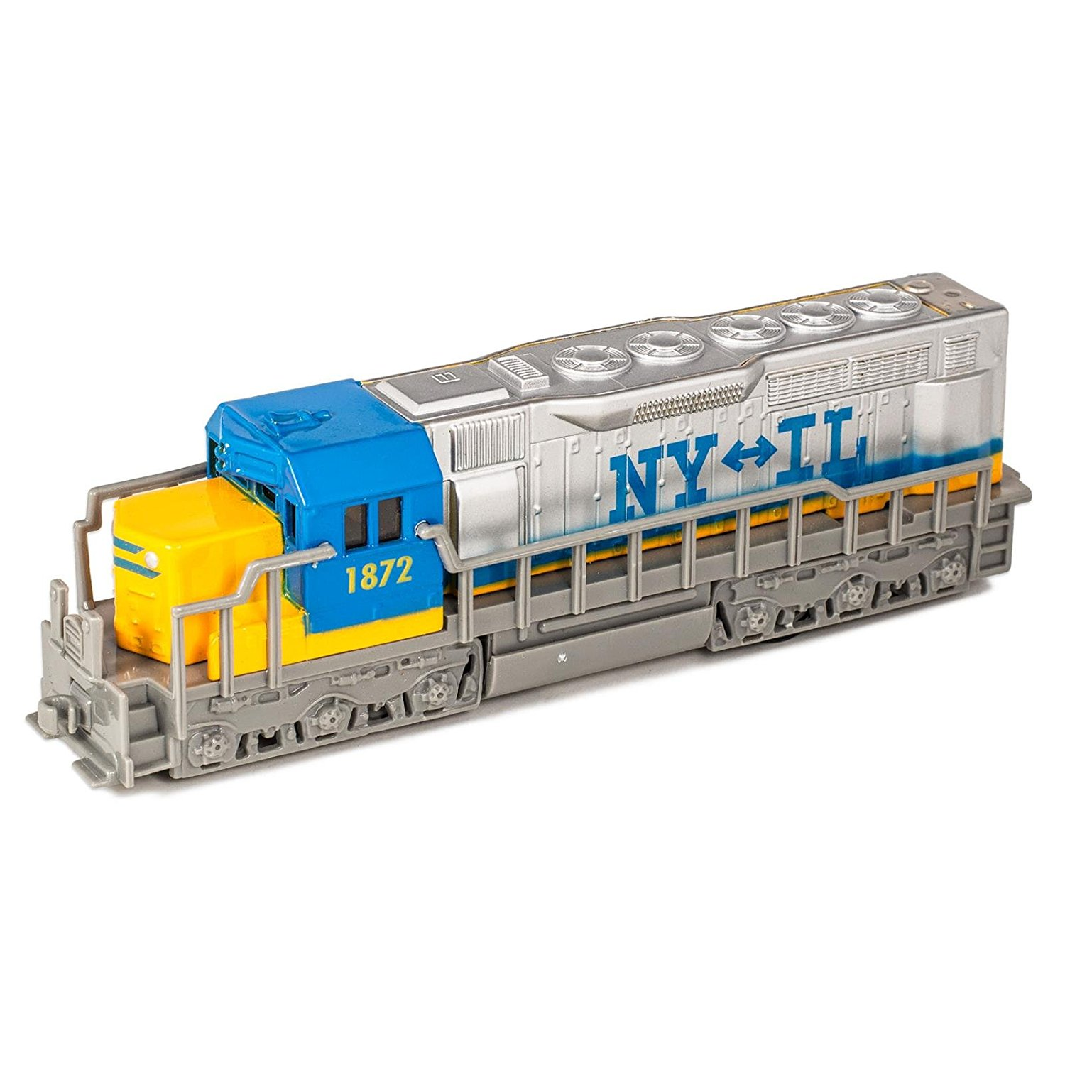 7 Blue Die Cast Freight Train Locomotive Toy with Pull Back Action by Kinsmart