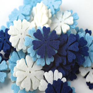 Handmade die cut felt flower assorted artificial mini blue felt flower petal