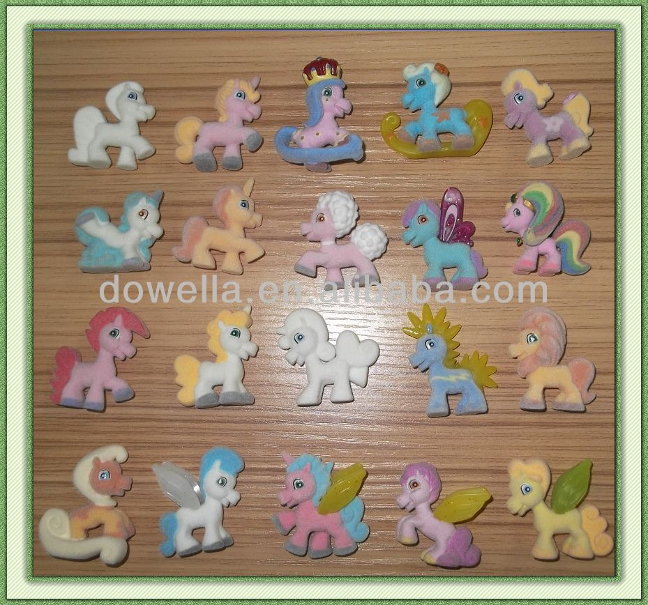 PVC toy flocked horse, Mini Animal Figurines,Cheap mini figureines