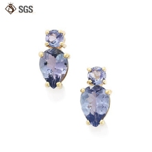 Blue sapphire Stud earring gold plated