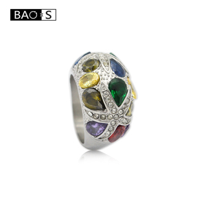 2018 Stainless Steel New Chaosuo colored crystal diamond ring