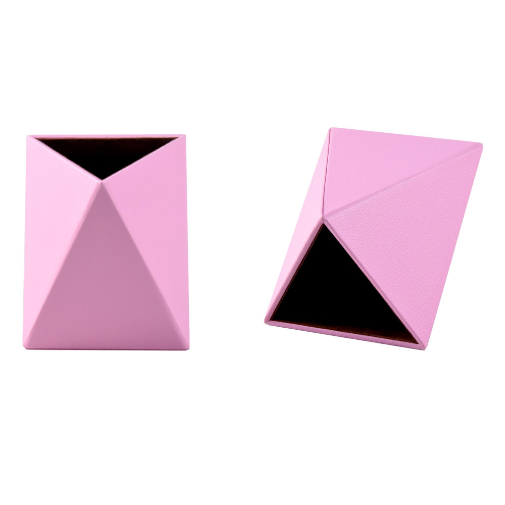 High quality irregular polygon cardboard young people pink faux leather pen holder
