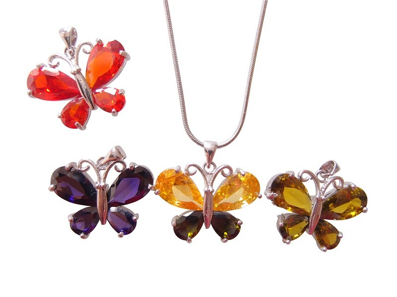 Fashion Zircon Butterfly Pendant Necklace