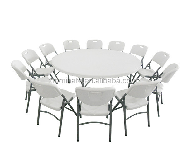"72"" Round Banquet Folding Rectangular HDPE Plastic Table"
