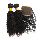 jet black curly virgin brazilian hair weave vendors with closure