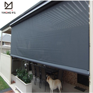 Home hotel balcony decor 6 grade windproof blackout PVC and polyester fabric motorized outdoor zip track roller blind curtains