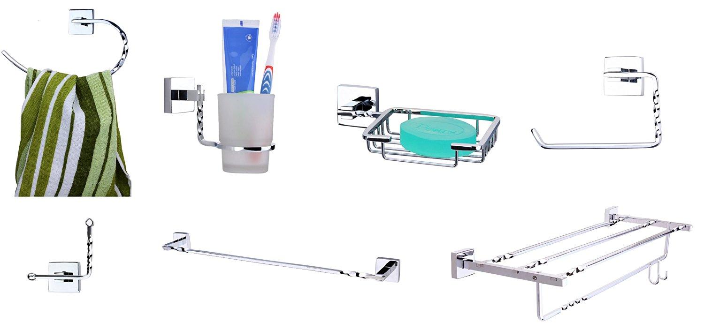 KRM Topaz Towel Ring + Towel Rod + Soap Dish+ Tumbler Holder+ Robe Hook+ Toilet Paper Holder+ Towel Rack- Pure Brass