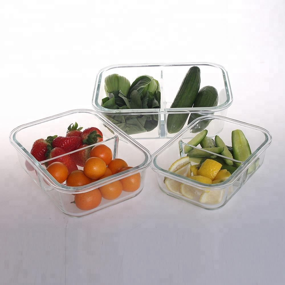 Verdeeld glas lunchbox tiffin carrier