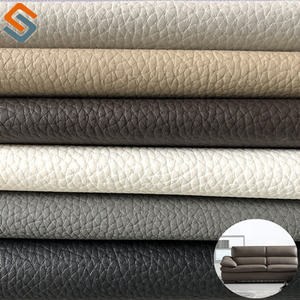 The latest China rexine PVC sofa leather manufacturer embossed lychee leather