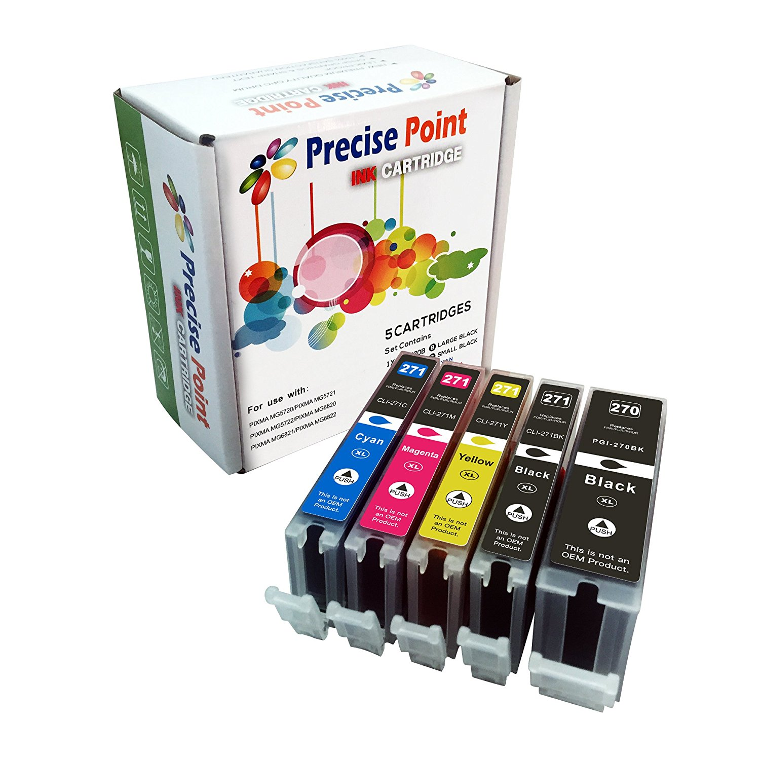 Precise Point Compatible Ink Cartridge Replacement for Canon PGI-270XL CLI-271XL (1 Large Black, 1 Small Black, 1 Cyan, 1 Yellow, 1 Magenta, 5-Pack)