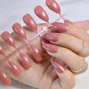 Dusty Cedar Fashion Stiletto False Nails Pointed Sharp Candy Deep Rose Red Nail Tips for daily wear On the Nail Tree 24pcs