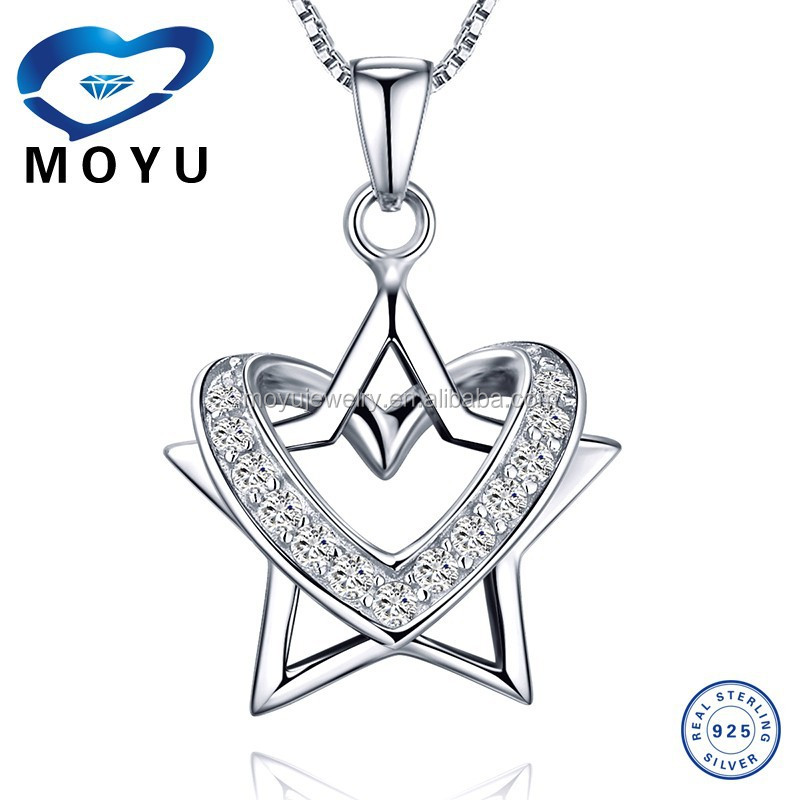 Unique Design Removeble Star and Heart Pendant 925 pure silver jewelry