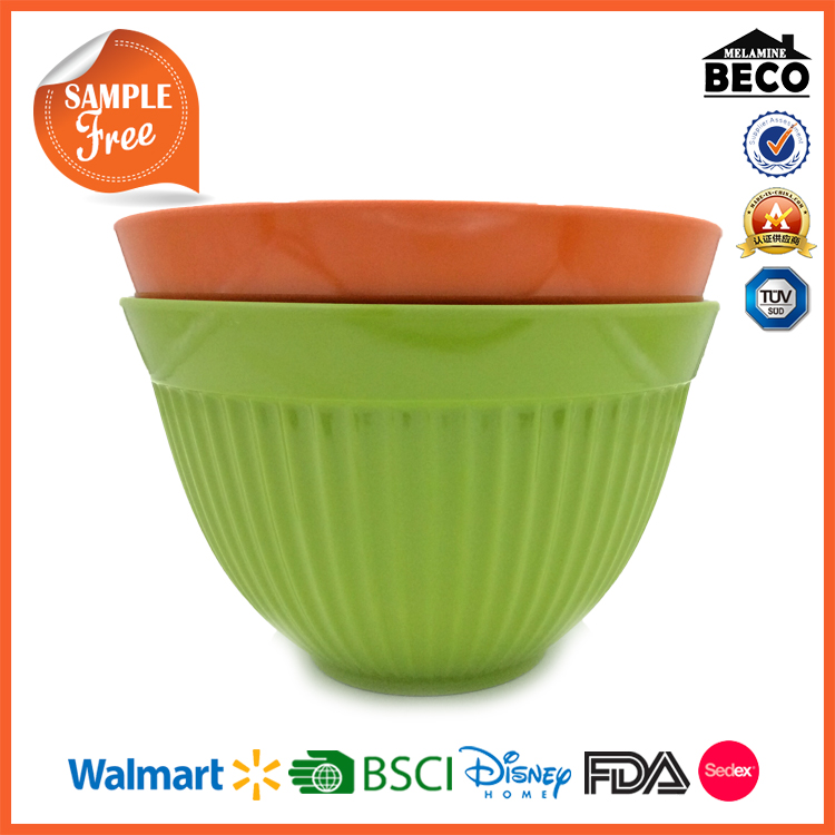Melamine stock green and orange mixing bowl with rubber base