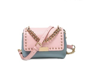 2018 best selling China shiny metal studs and chain Crossbody Bag PU leather Woman mini shoulder bag
