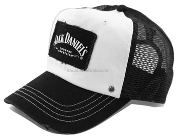 5 Panel Cotton And Mesh Custom Printed Patch Distressed Mesh Trucker ... a79d440b5d6