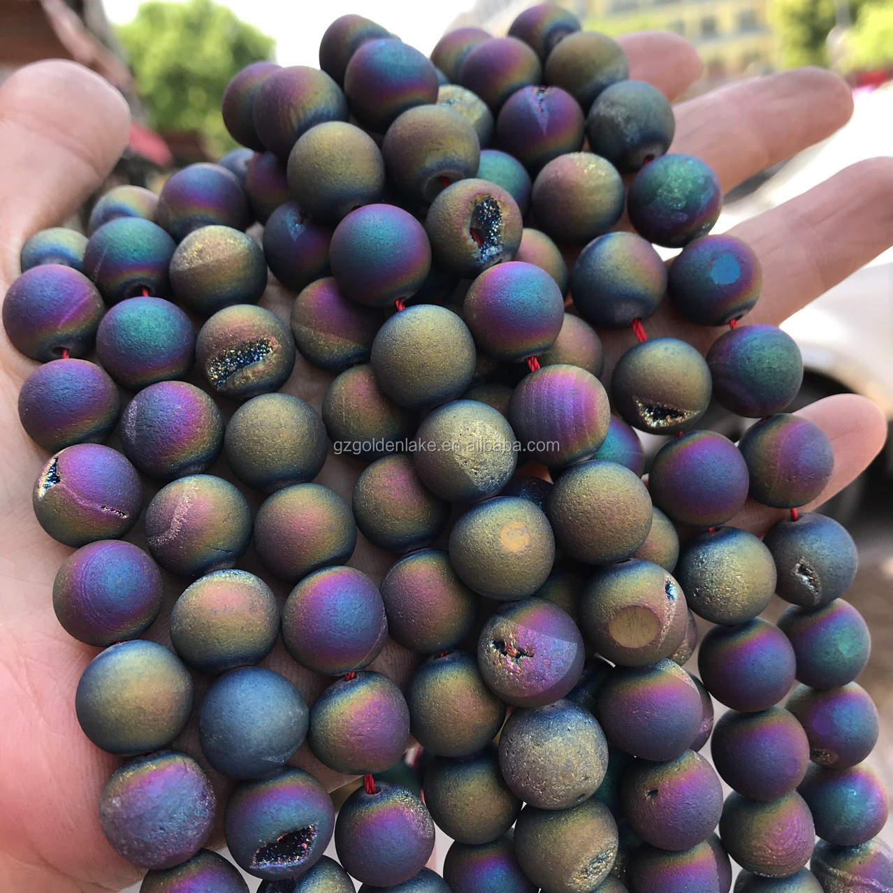 Natural Druzy Agate Beads Geode Quartz Plated Drusy Round Ball Beads