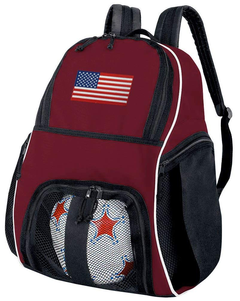 28459fadf30 Get Quotations · American Flag Soccer Backpack or Volleyball Bag Maroon