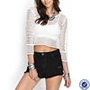 clothes factory in china trade assurance products women 3/4 sleeves.round neckline crochet crop tops wholesale