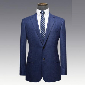 Best Tailored Navy Blue Mens Wedding Suits Formal Business Fused T R Materials Low