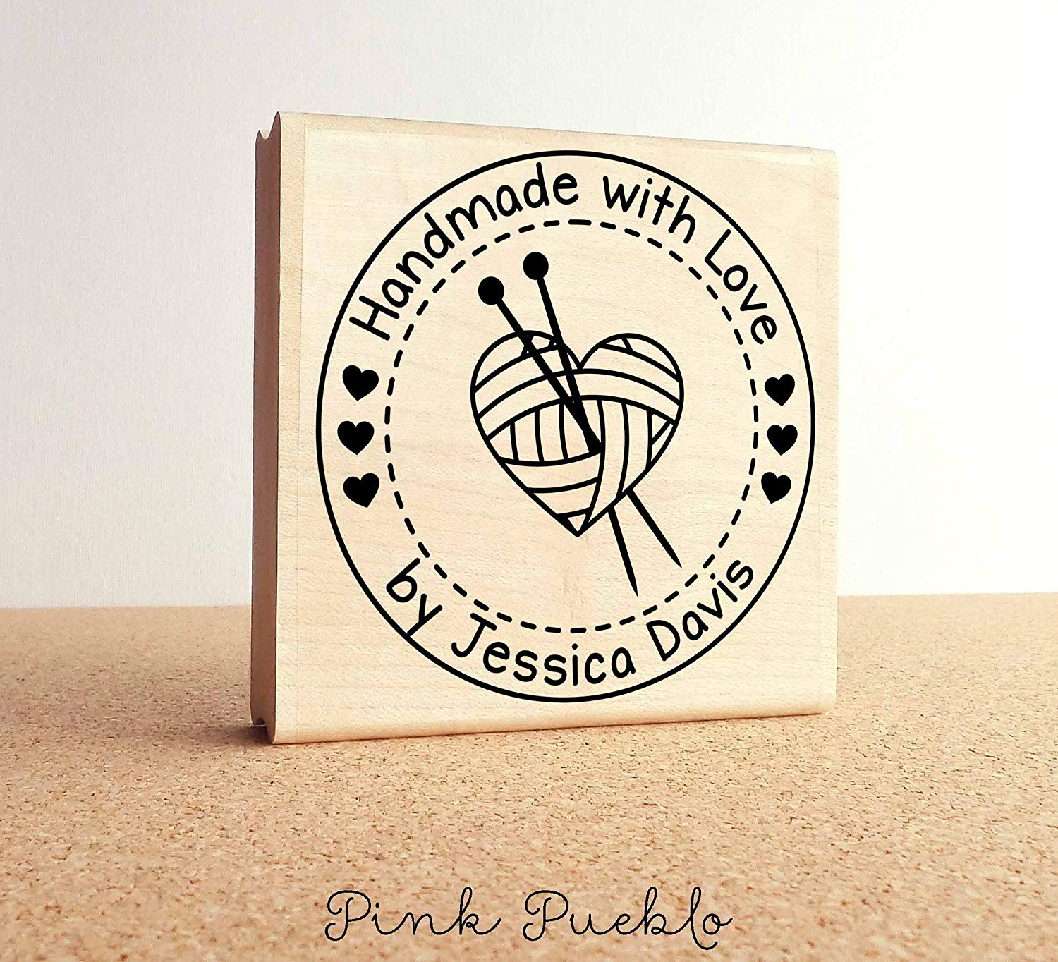 {Single Count} Unique /& Custom This Card Was Handmade Just For You Text Round Circle Shaped Genuine Wood Mounted Rubber Inking Stamp 1 1//2 Inches