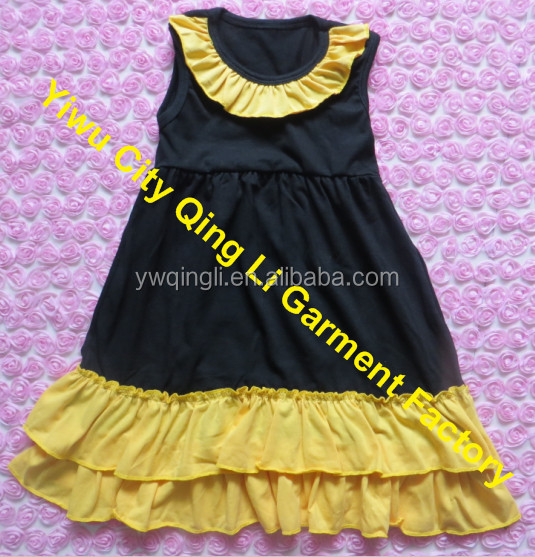fc05ddfc3453 Persnickety Girls Cotton Clothes Boutique New Born Baby Plain Black Knit  Sleeveless Lap Dresses With Mustard
