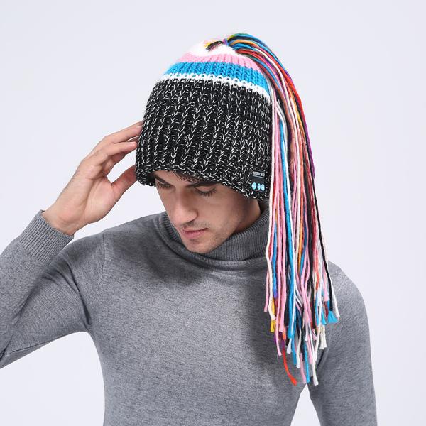 f96f2bd477c Long Rainbow Ponytail Wireless Music Hat Wool Knit Bluetooth Beanie ...