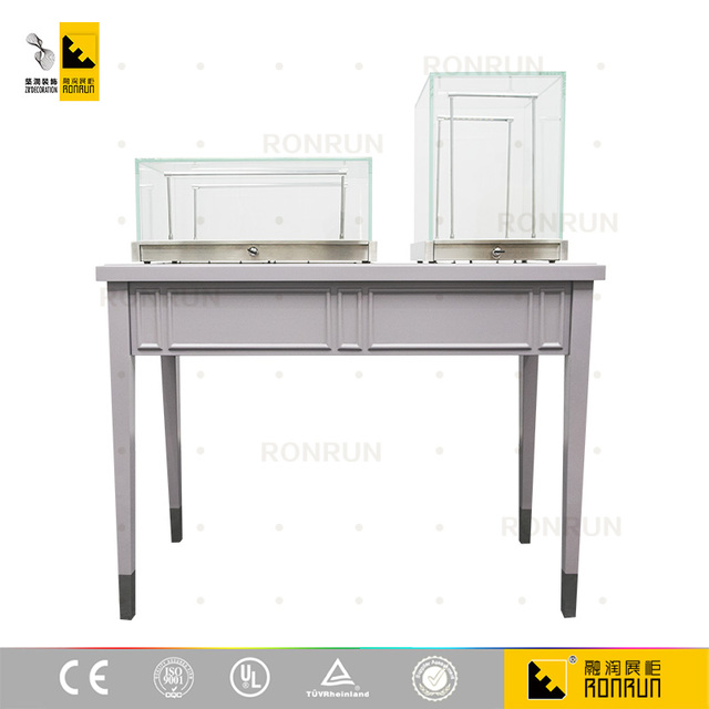 Gentil Modern Wood Stainless Steel Glass Table Counter Top Jewelry Shop Display  Case With LED Light