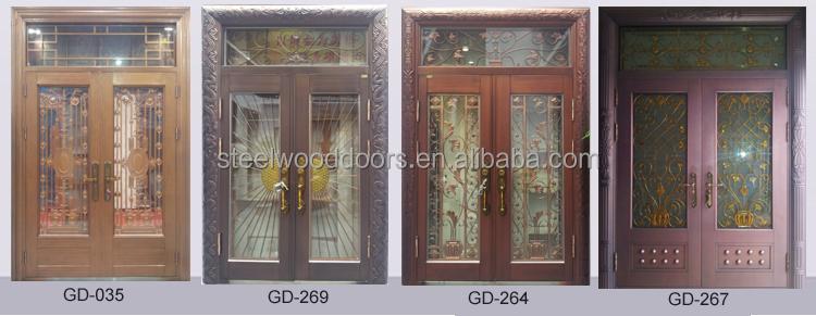 outdoor villa entrance wrought iron door glass view wrought iron