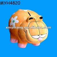 Hand made ceramic Garfield piggy money banks