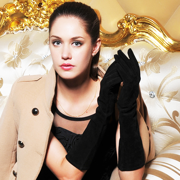 Perfect Ladies Black Long Suede Leather Dressing Gloves