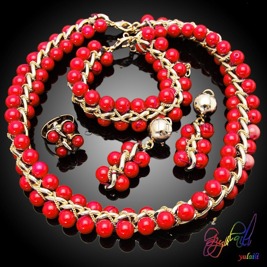 Imitación pearl jewelry sets red beads necklace sets pesado collar de perlas  conjunto