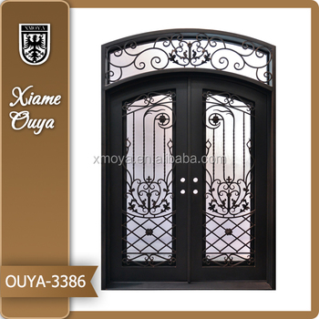 Luxury And High Grade Atmosphere Wrought Iron Double Entry Door